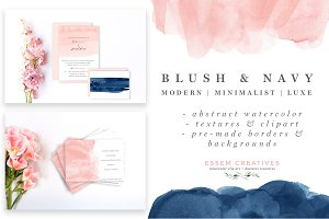 Blush and Navy Abstract Watercolor