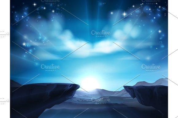 Cliff Mountain Sunrise Background