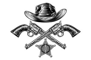 Cowboy Hat with Sheriff Star with Crossed Pistols