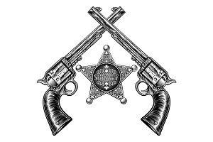Crossed Pistols and Sheriff Star Badge