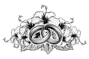 Wedding Rings and Hibiscus Flowers