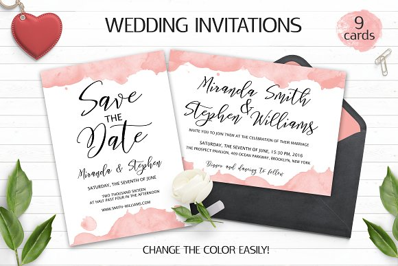 watercolor wedding invitation suite invitation templates