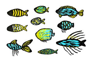 Hand painted fishes set