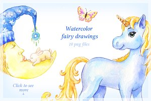Watercolor fairy drawings