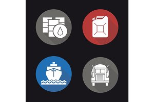 Oil transportation flat design long shadow icons set