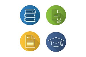 High education flat linear long shadow icons set