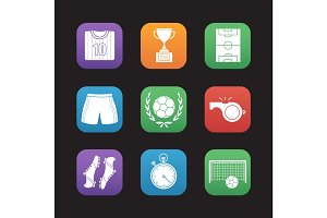 Soccer flat design icons set