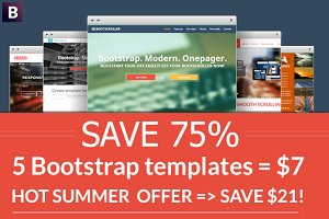 Bootstrap 5 templates set - SAVE 75%