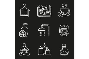 Spa salon chalk icons set