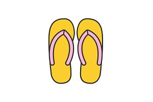 Flip flops color icon