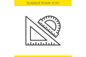 School rulers linear icon