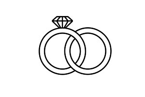Wedding rings linear icon