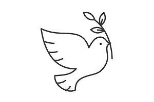 Dove with olive brunch linear icon
