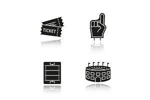 American football drop shadow black icons set
