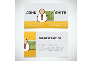 Business card print template with presentation graph logo
