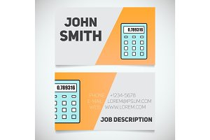 Business card print template with calculator logo