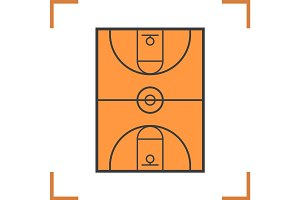 Basketball court color icon