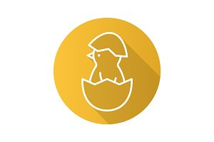 Newborn chicken flat linear long shadow icon