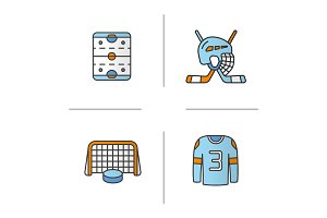 Hockey color icons set