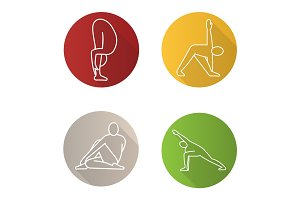 Yoga poses flat linear long shadow icons set