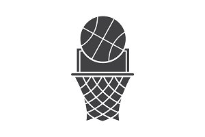Basketball point glyph icon
