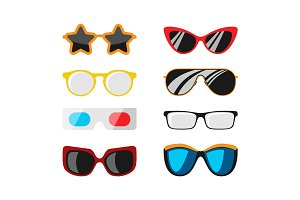 Fashion set sunglasses accessory sun spectacles plastic frame modern eyeglasses vector illustration.