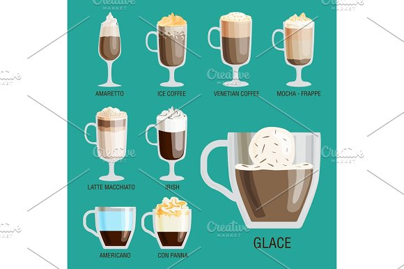 Set Of Different Transparent Cups Of Coffee Types Mug With Foam Beverage And Breakfast Morning Sign Tasty Aromatic Glass Assortment Vector Illustration