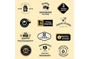 Photographer icons vector set.