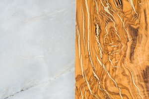 Grey marble stone and olive wood