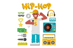 Hip hop character musician with microphone breakdance expressive rap portrait vector illustration.