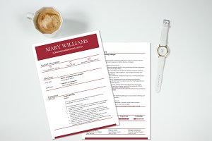 Clean, simple and red resume