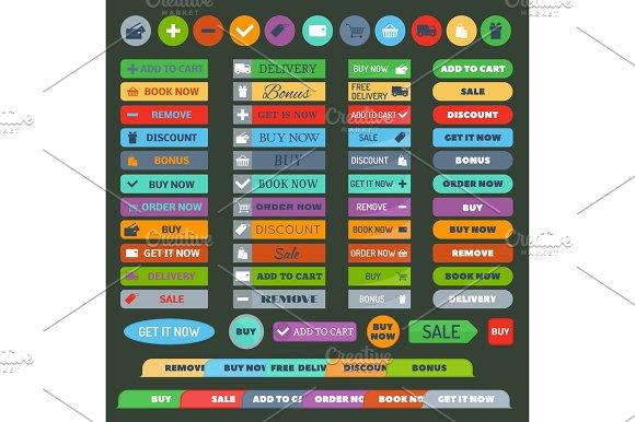 Shop Buttons Vector Set