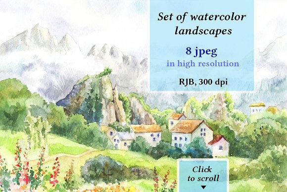 8 Watercolor Lanscapes