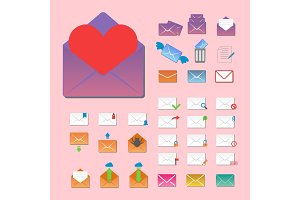 Email envelope cover icons communication vector illustration.