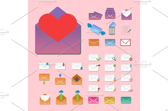 Email Envelope Cover Icons Communication Vector Illustration