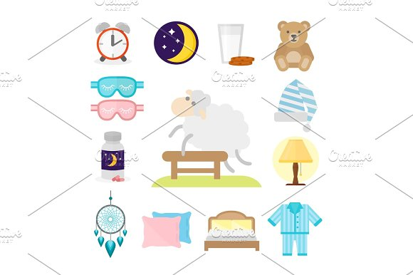 Sleep Icons Vector Illustration Set Collection Nap Icon Moon Relax Bedtime Night Bed