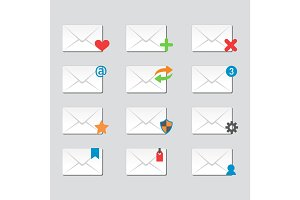 Email envelope cover icons communication and office correspondence blank cover address design paper empty card business writing message vector illustration.