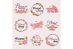Bright sign flower shop vector illustration.