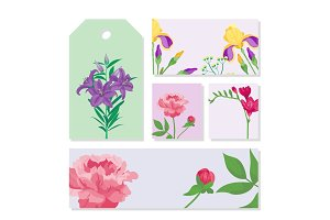 Cartoon petal vintage floral vector bouquet garden summer floral greeting card spring blossom.