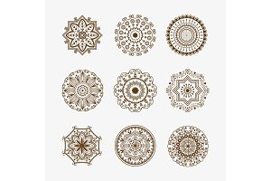 Henna tattoo brown mehndi flower template