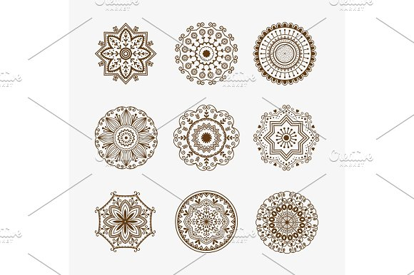 Henna Tattoo Brown Mehndi Flower Template