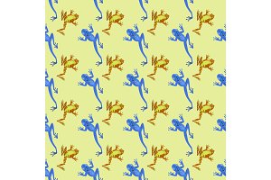Frog cartoon tropical animal cartoon nature seamless pattern funny and isolated mascot character wild funny forest toad amphibian vector illustration.