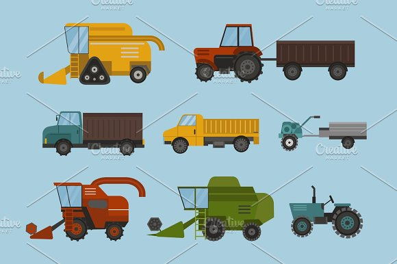Agriculture industrial farm equipment machinery tractor combine and excavator rural machinery corn car harvesting wheel vector illustration.