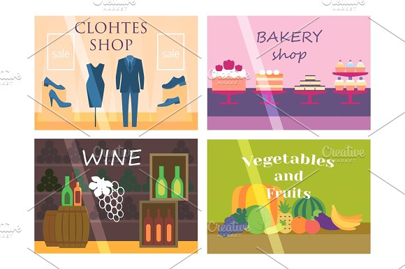 Flat design showcase restaurant shop facade icon store modern awning architecture window exterior and market front urban business house vector illustration.