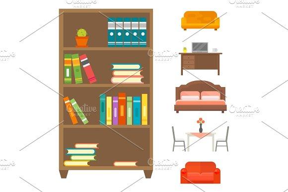 Furniture home decor icon set indoor cabinet interior room library office bookshelf modern restroom silhouette decoration vector illustration