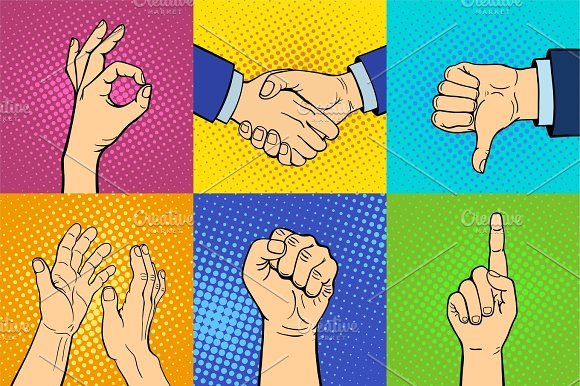 Hands Showing Deaf-mute Different Gestures Human Arm Hold Communication And Direction Design Fist Touch Pop Art Style Colorful Vector Illusstration