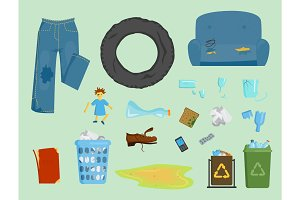 Recycling garbage elements trash bags tires vector illustration.