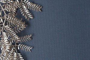 Silver glitter leaves/Navy elegant