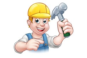 Carpenter Handyman in Hard Hat Holding Hammer Tool