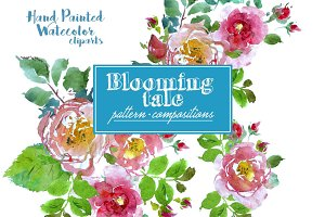 Blooming Tale. Watercolor clipart